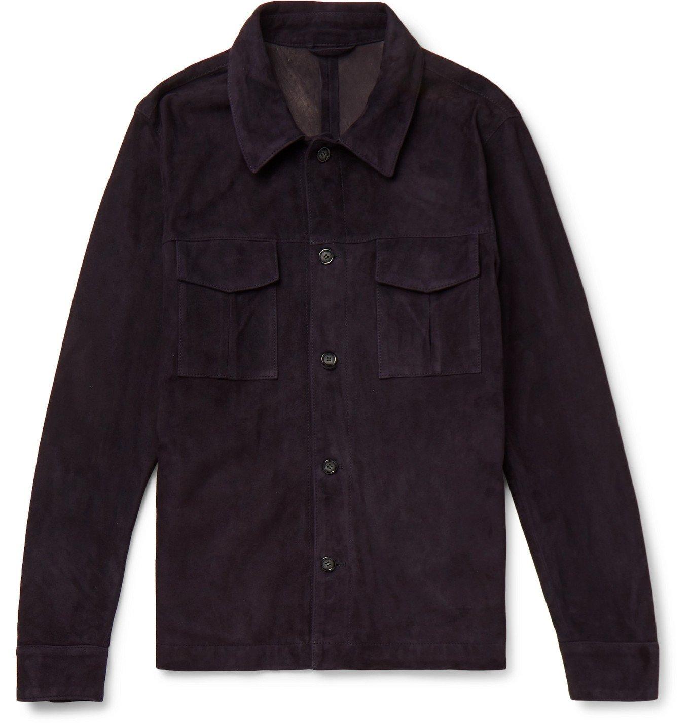 Photo: Valstar - Slim-Fit Suede Shirt Jacket - Blue