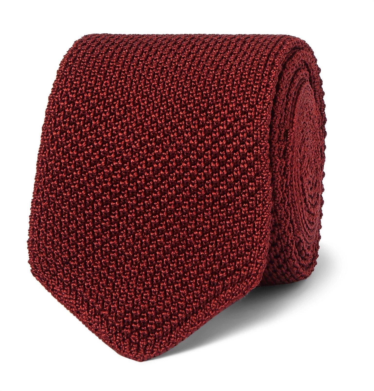Photo: Ermenegildo Zegna - 6.5cm Knitted Silk Tie - Burgundy