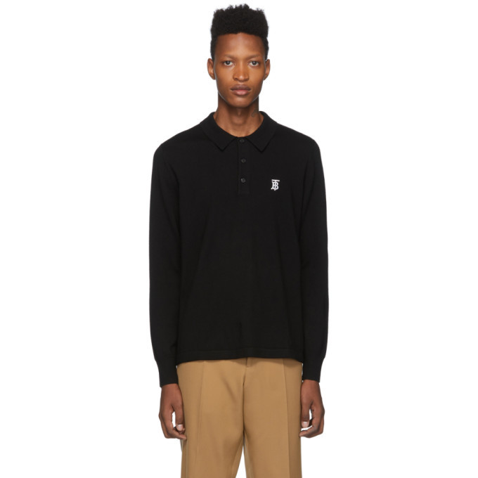 Photo: Burberry Black Merino Monogram Douglas Polo