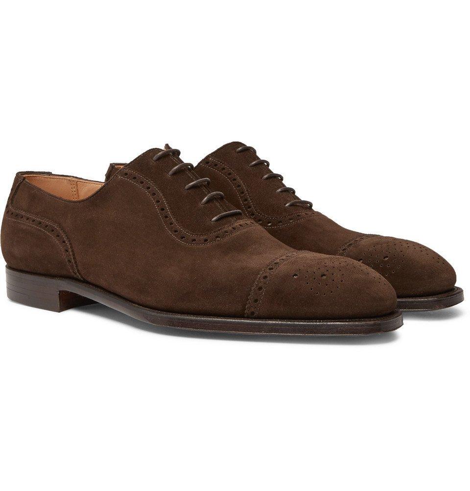 George Adam Cleverley Men Cap Toe Dark Oxford Leather Brogues CBrxQedoWE