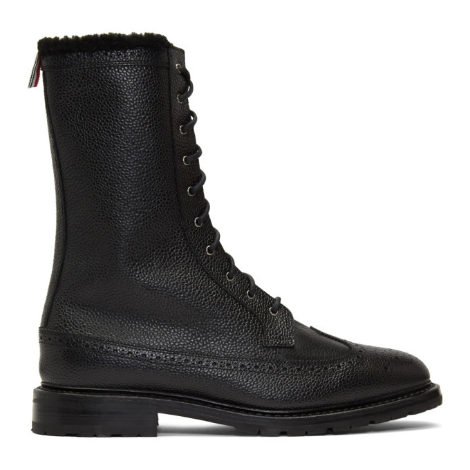 Photo: Thom Browne Black Shearling Longwing Commando Boots