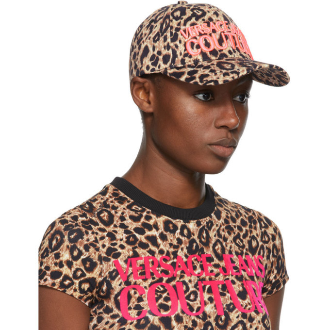 Versace Jeans Couture Brown and Pink Leopard Logo Cap