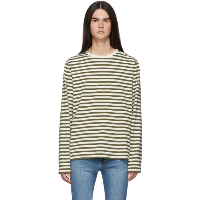 Photo: Frame Off-White and Khaki Stripe Classic Long Sleeve T-Shirt