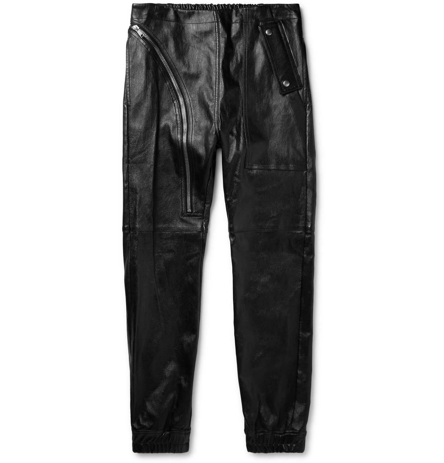 Photo: Rick Owens - Slim-Fit Leather Trousers - Black