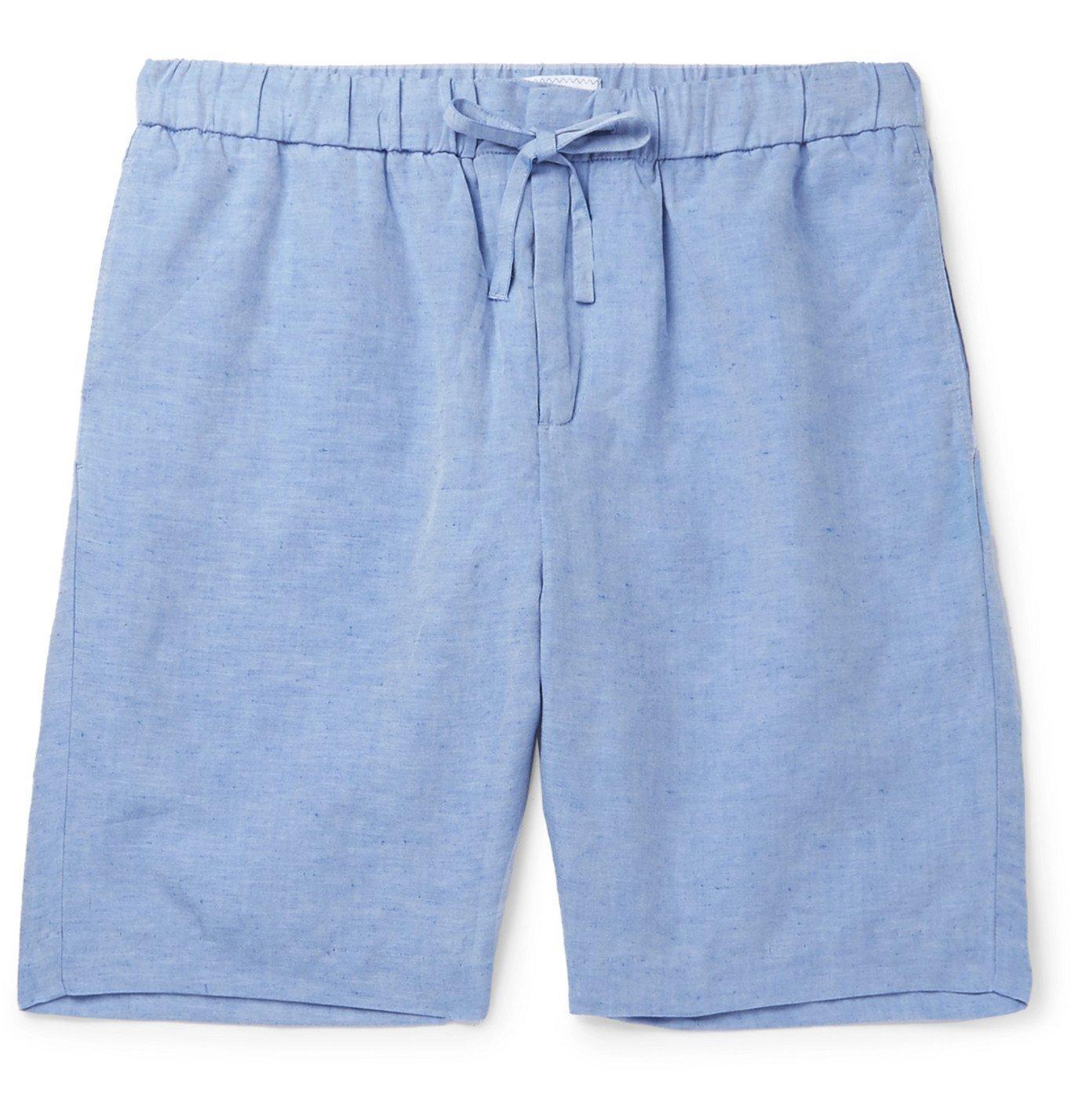 Photo: Frescobol Carioca - Wide-Leg Slub Tencel and Linen-Blend Drawstring Shorts - Blue