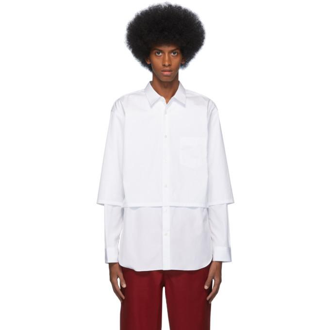 Photo: Comme des Garcons Shirt White Cotton Poplin Layered Shirt