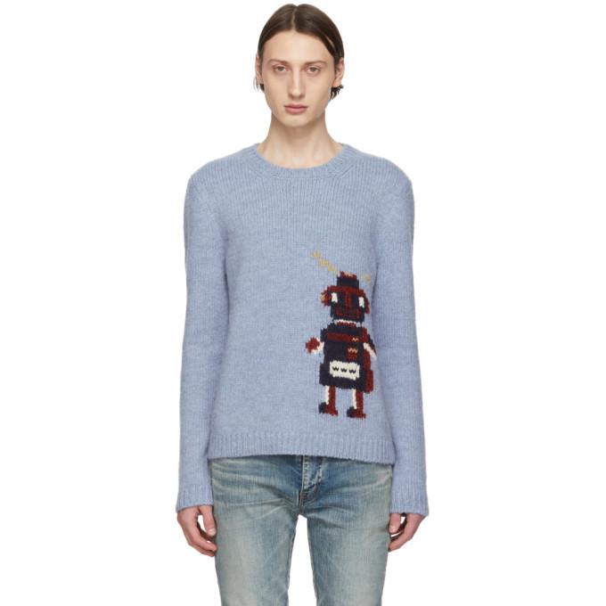 Photo: Saint Laurent Blue Jacquard Robot Sweater