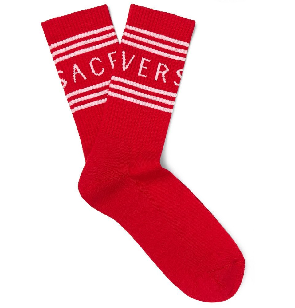 Photo: Versace - Logo-Jacquard Ribbed Stretch Cotton-Blend Socks - Red