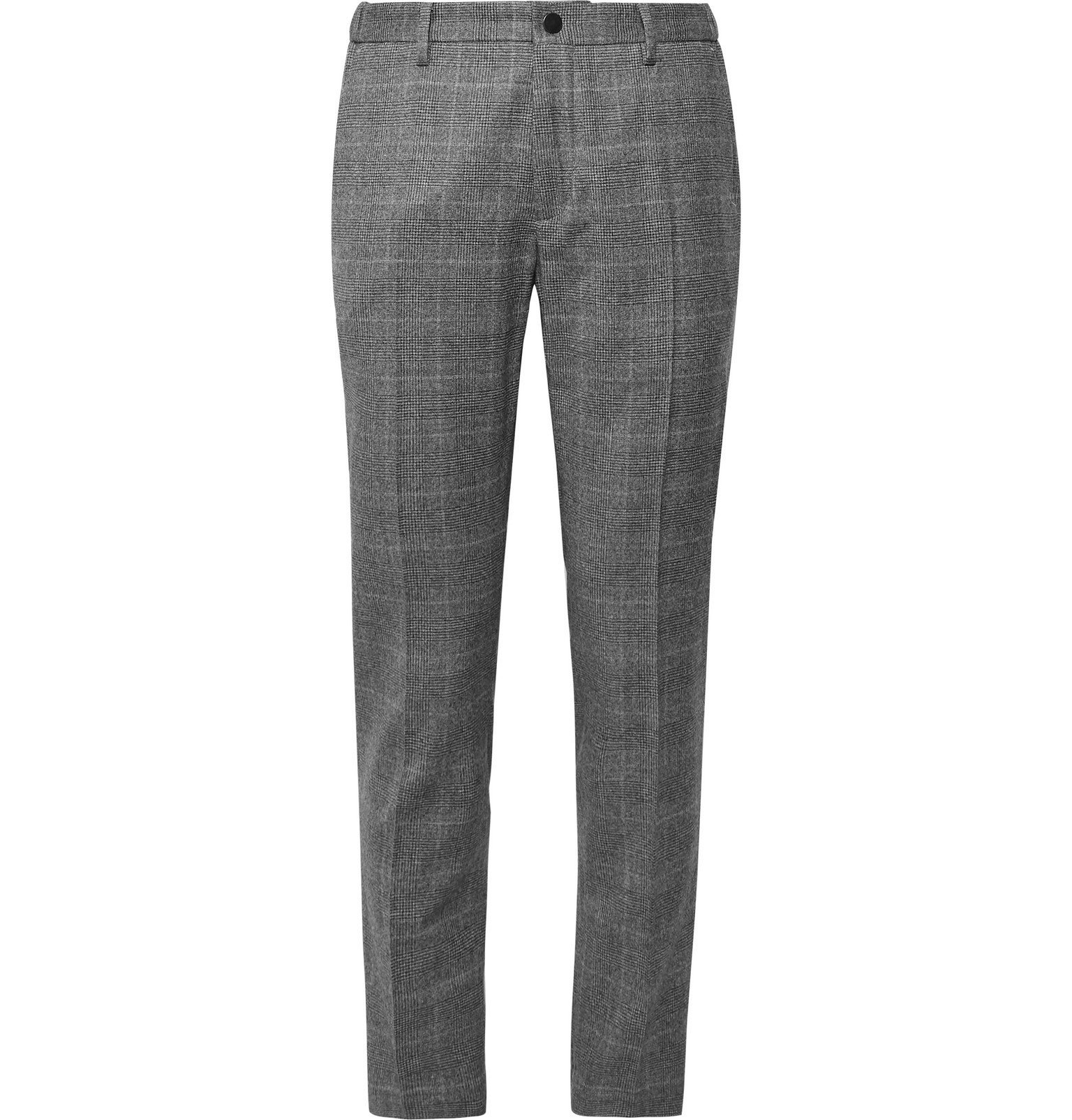 Photo: Incotex - Tapered Prince of Wales Checked Virgin Wool-Blend Trousers - Gray