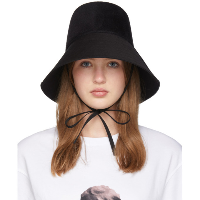 Photo: Valentino Black Felt Chin Tie Bucket Hat