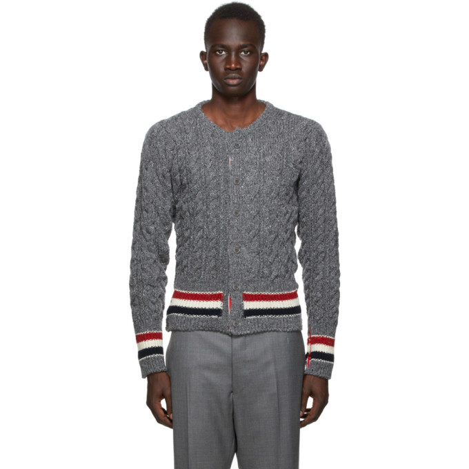 Photo: Thom Browne SSENSE Exclusive Grey Aran Cable Stripe Cardigan
