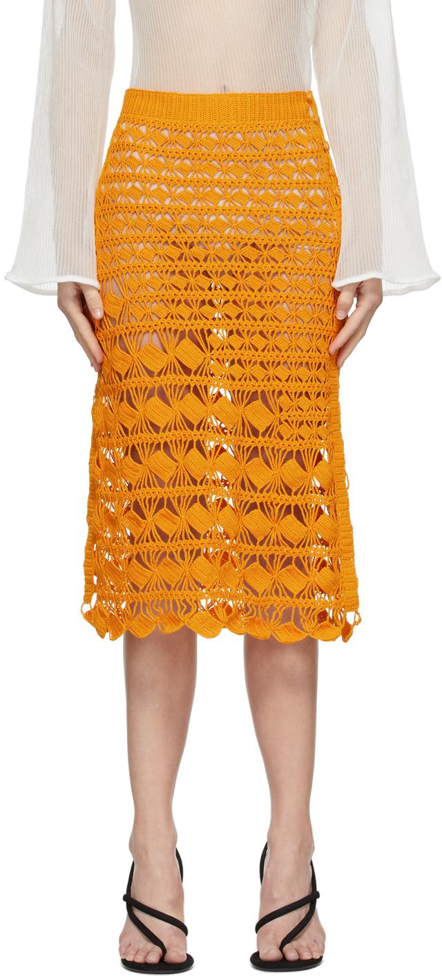 Photo: Acne Studios Orange Crochet Skirt