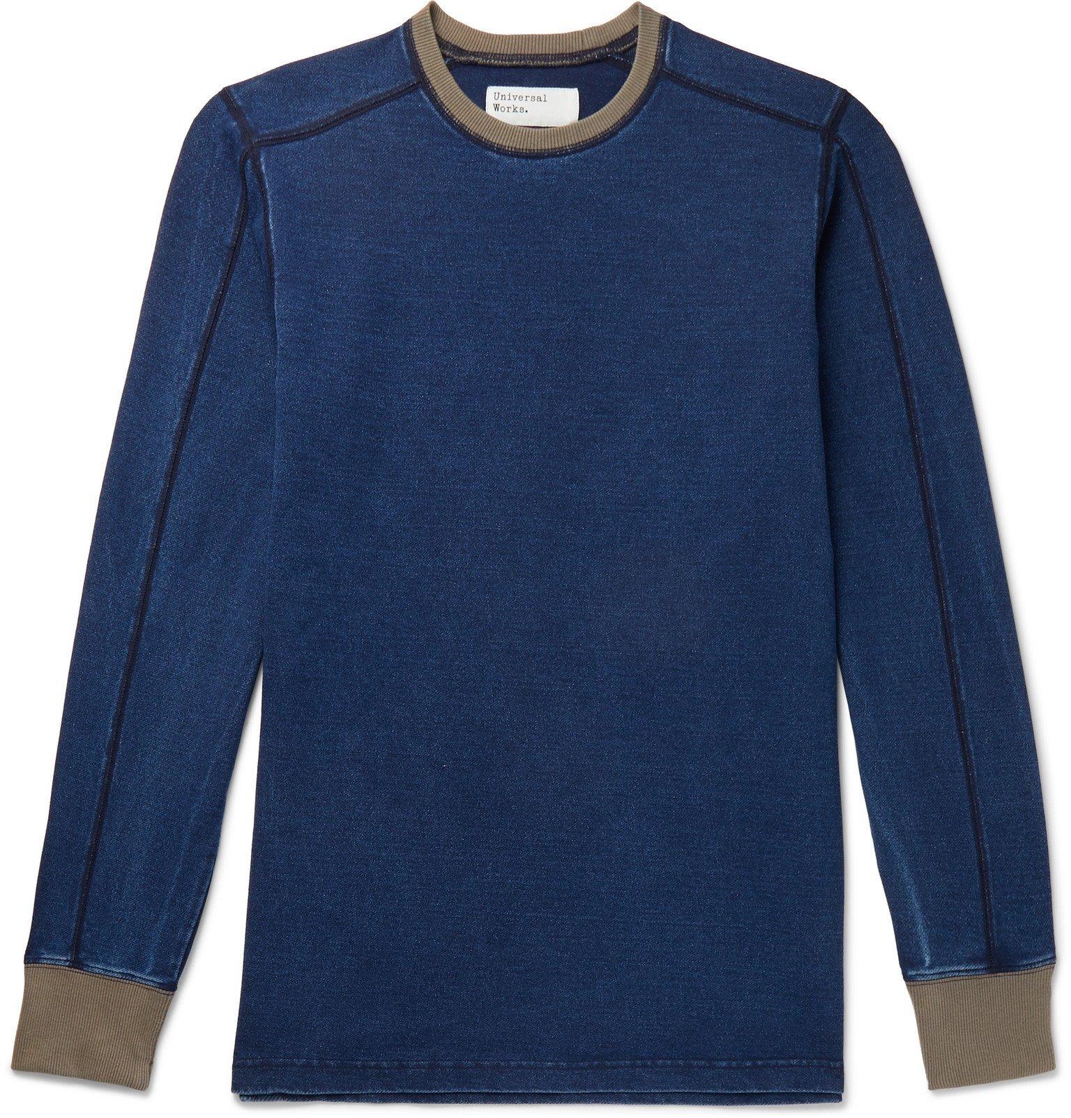 Photo: Universal Works - Contrast-Tipped Indigo-Dyed Jersey Sweatshirt - Blue