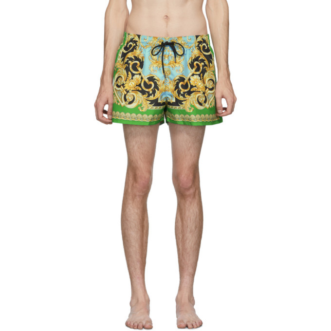 Photo: Versace Underwear Green and Blue Barocco Swim Shorts