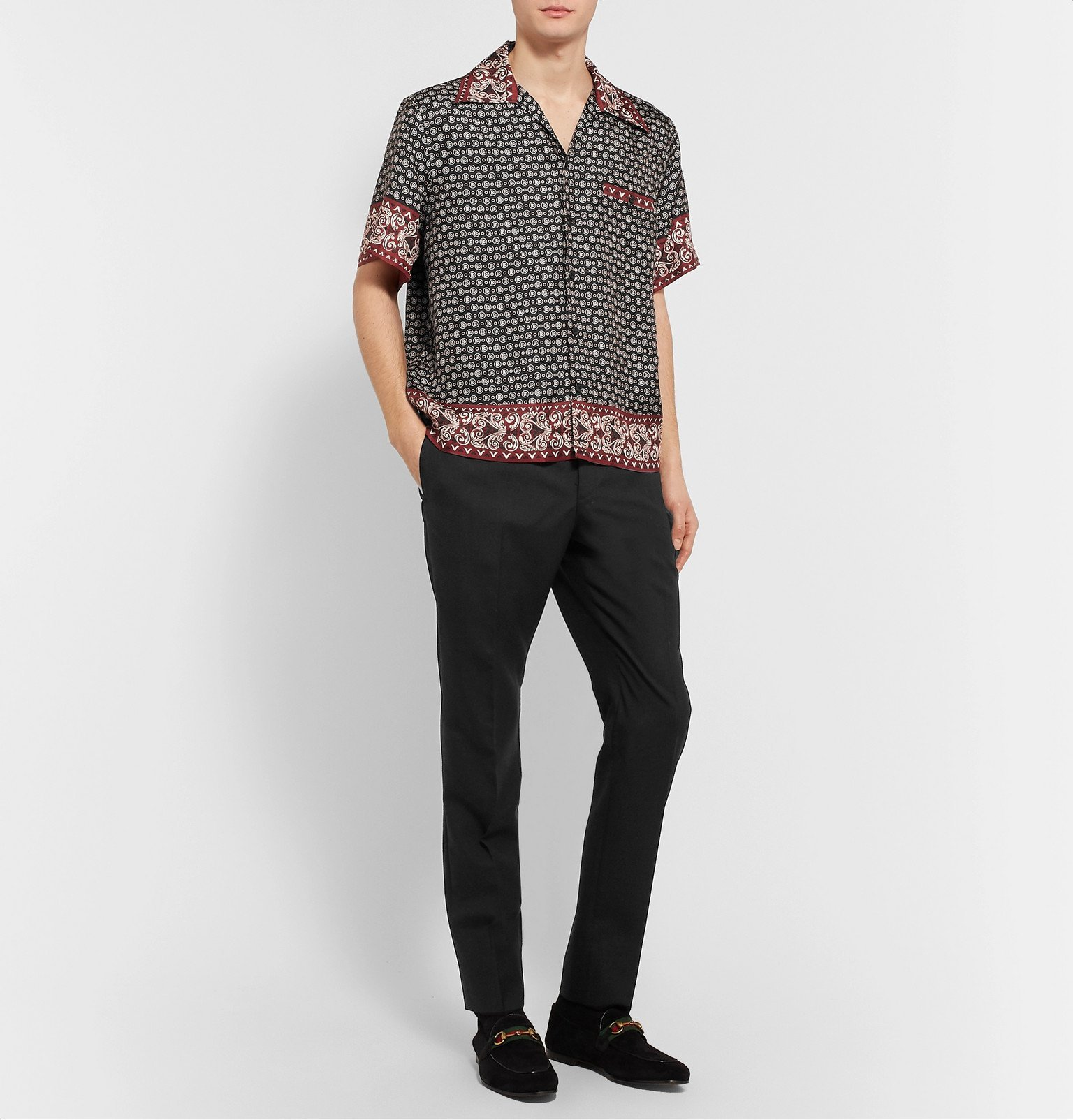 Dolce & Gabbana - Camp-Collar Logo-Print Silk-Twill Shirt - Black