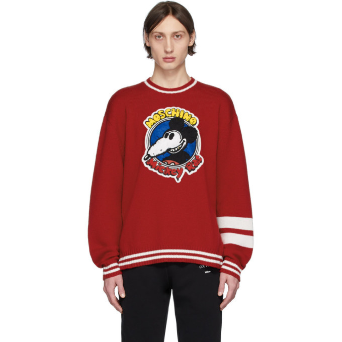 Photo: Moschino Red Chinese New Year Mickey Rat Knit Sweater