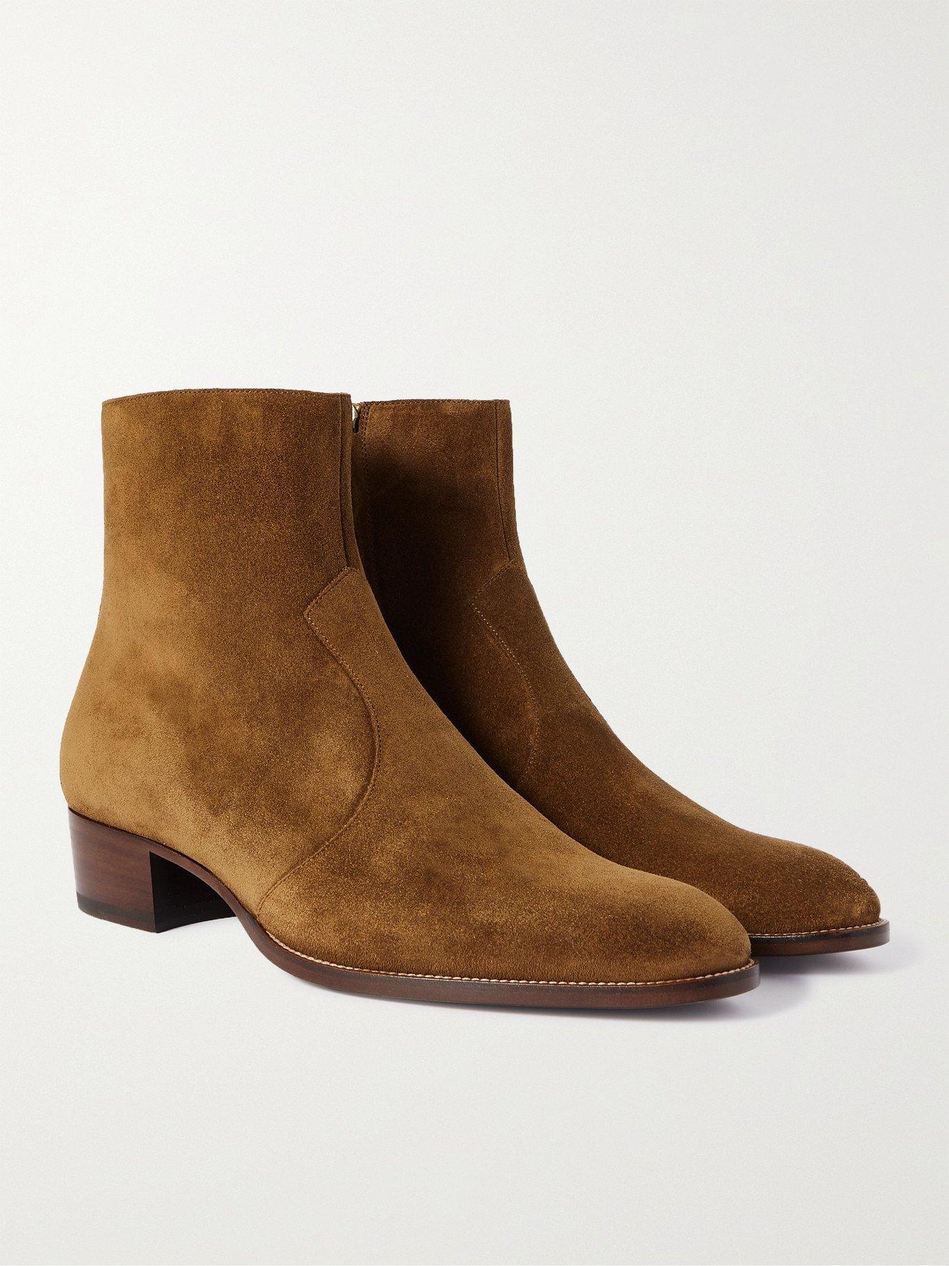 Photo: SAINT LAURENT - Wyatt Suede Chelsea Boots - Brown