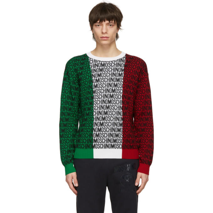 Photo: Moschino Multicolor Wool Fantasy Print Sweater