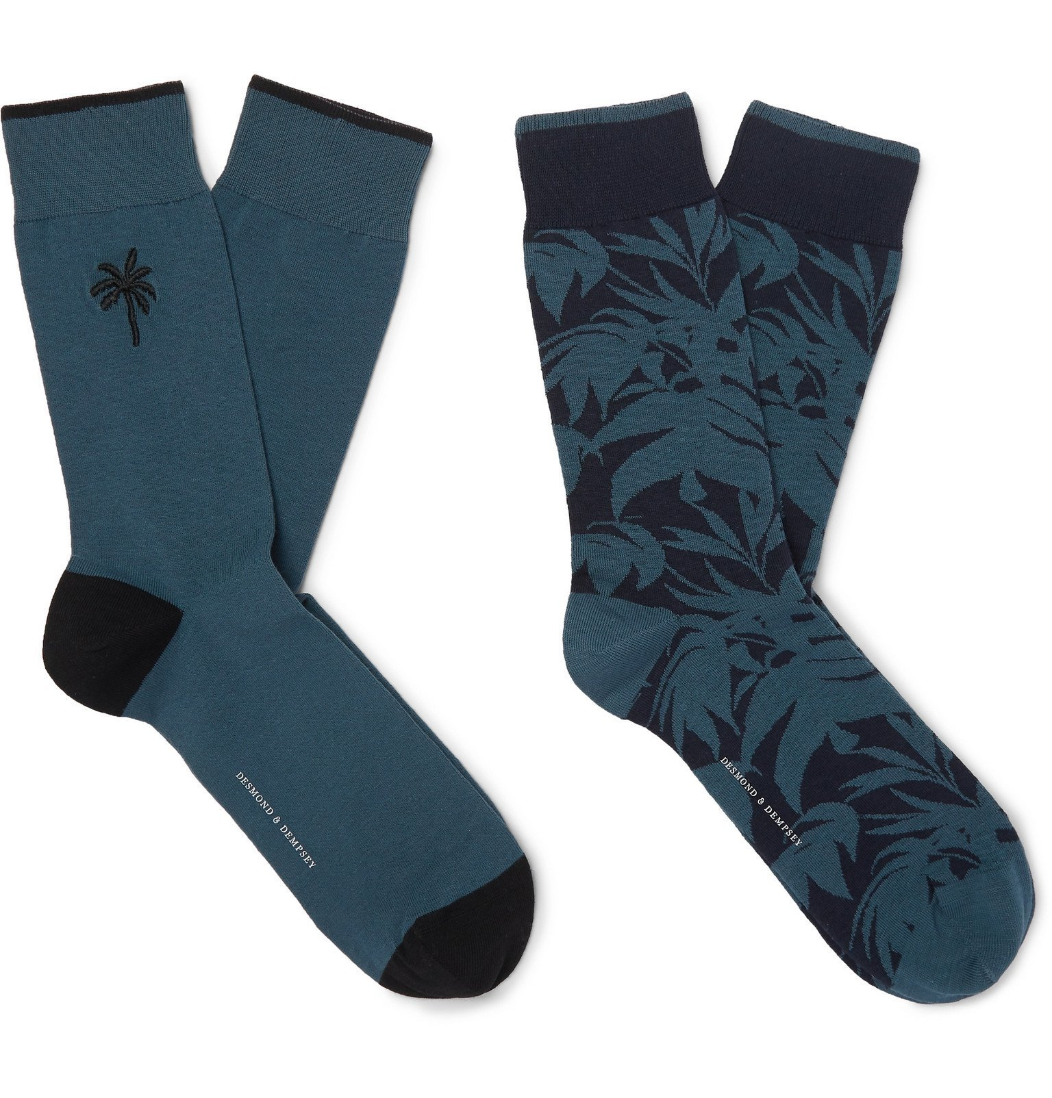 Photo: Desmond & Dempsey - Two-Pack Embroidered Stretch Cotton-Blend Jacquard Socks - Green