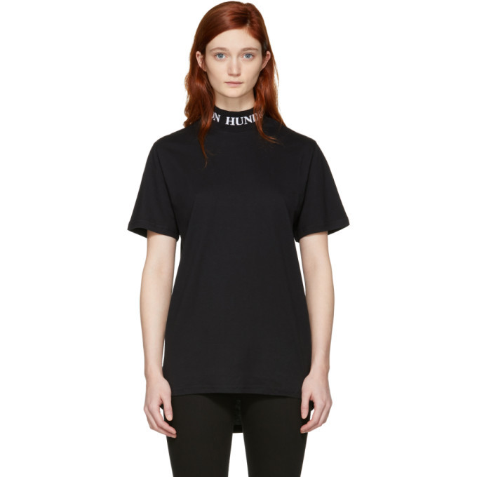 Won Hundred Black Prague Logo Collar T-Shirt