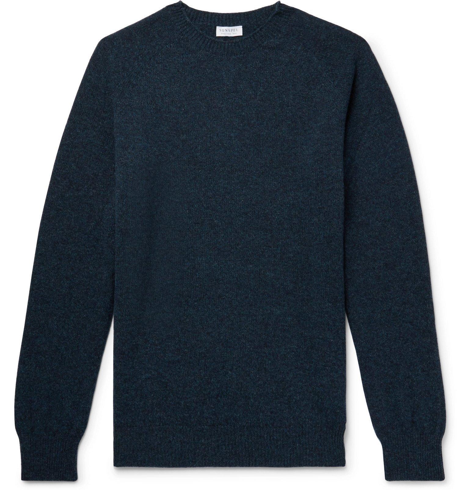 Sunspel - Mélange Wool Sweater - Blue