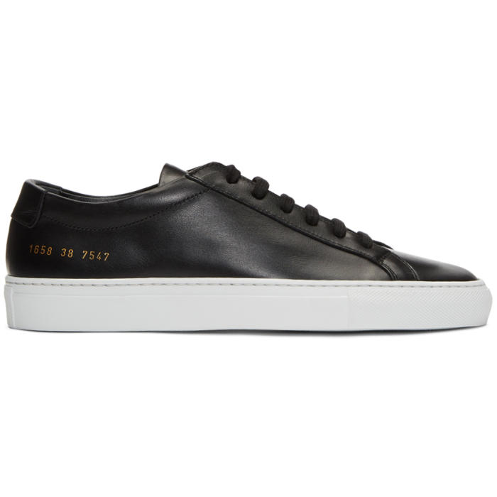 Common Projects Black and White Original Achilles Low Sneakers