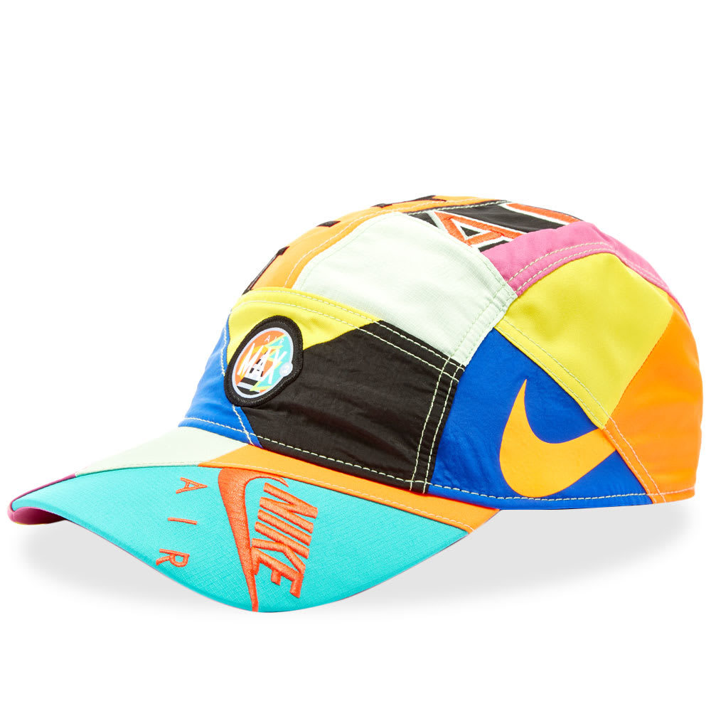 dc05055720aca0 Photo  Nike x Atmos Patchwork AW84 Hat Racing Blue   Multi Crown