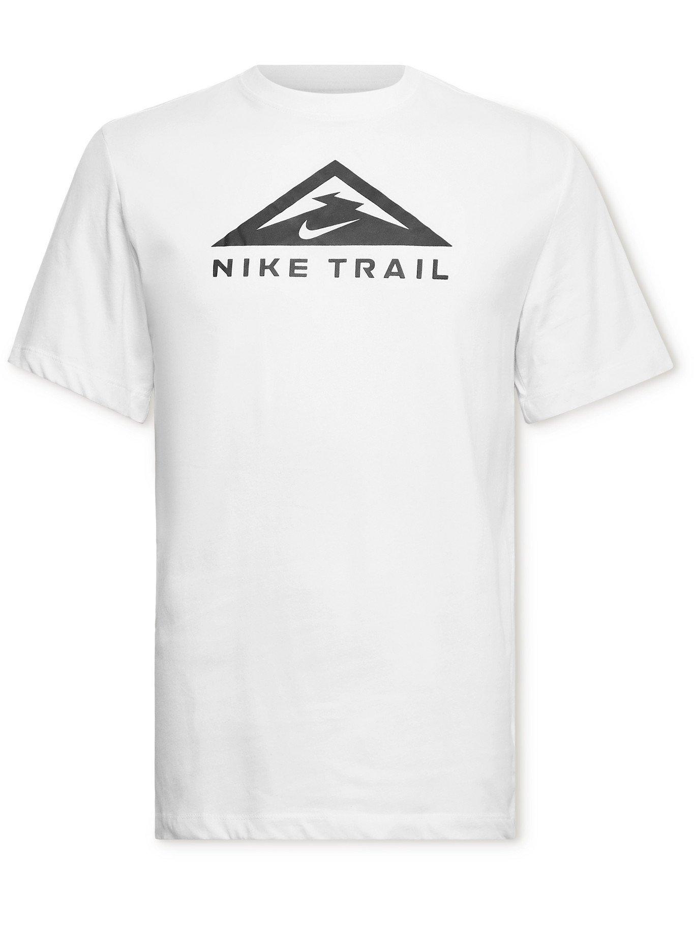 Photo: NIKE RUNNING - Trail Logo-Print Dri-FIT Cotton-Blend Jersey T-Shirt - White - M