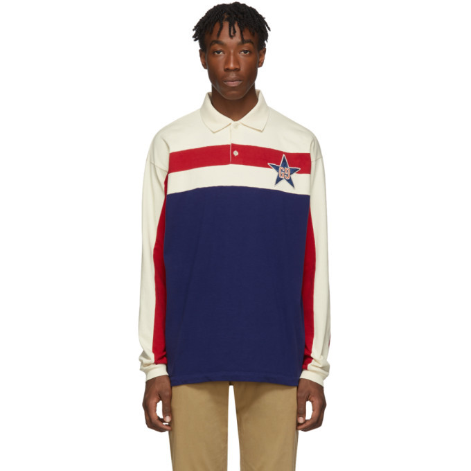 Photo: Gucci Blue Starpatch Long Sleeve Polo