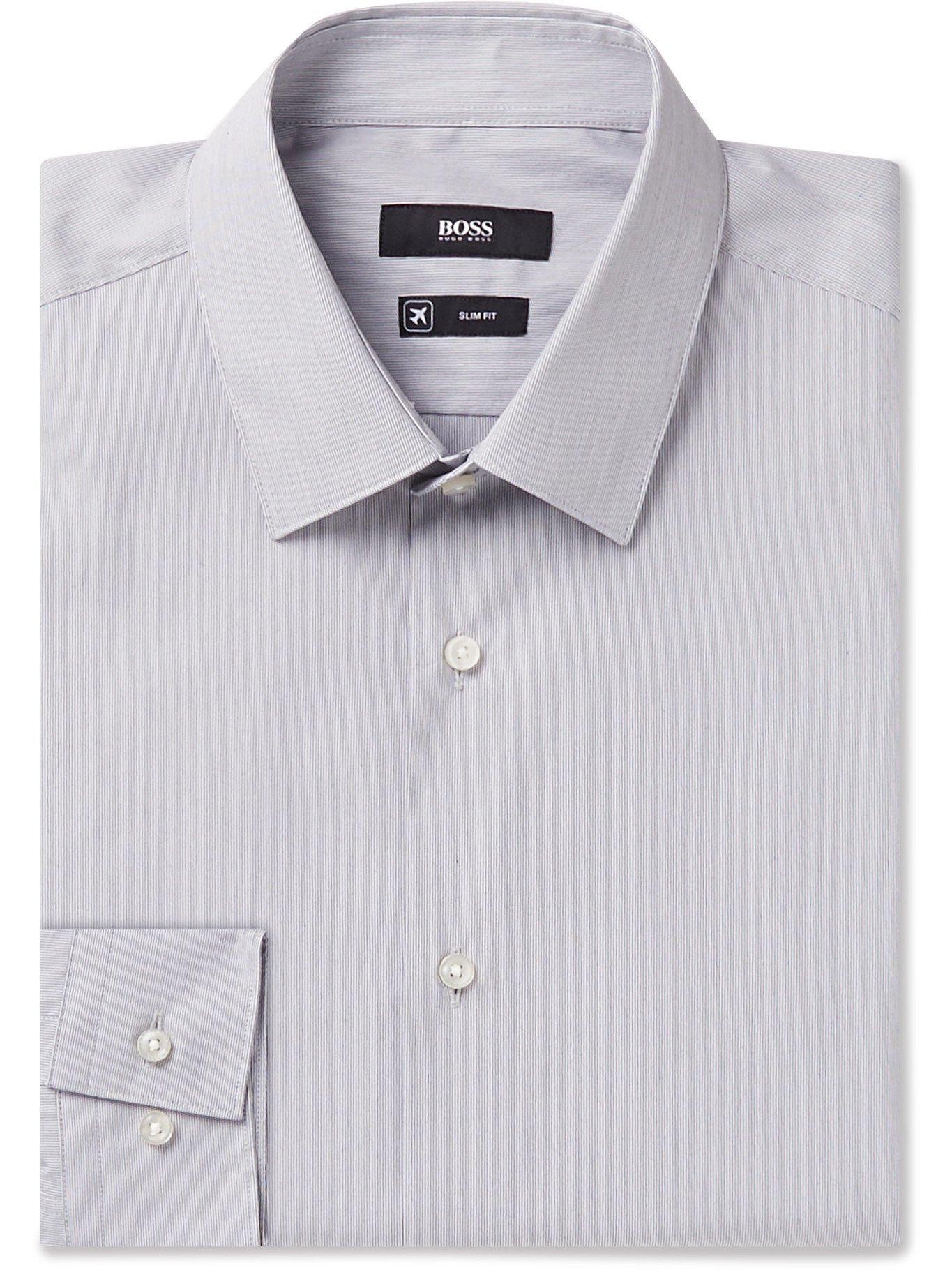 HUGO BOSS - Slim-Fit Pinstriped Cotton-Blend Poplin Shirt - Black