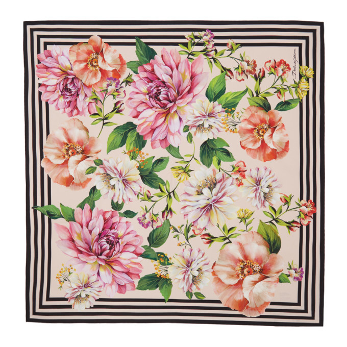 Photo: Dolce and Gabbana Pink Silk Twill Floral Scarf