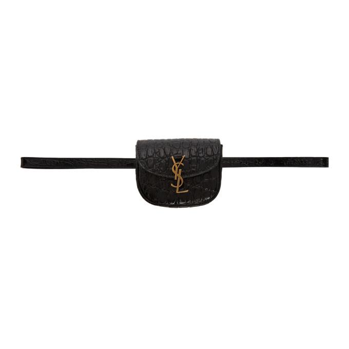 Photo: Saint Laurent Black Croc Kaia Belt Bag