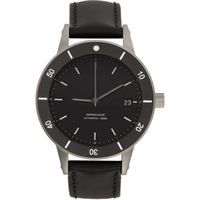 Photo: Instrmnt Black and Silver Leather Dive Watch