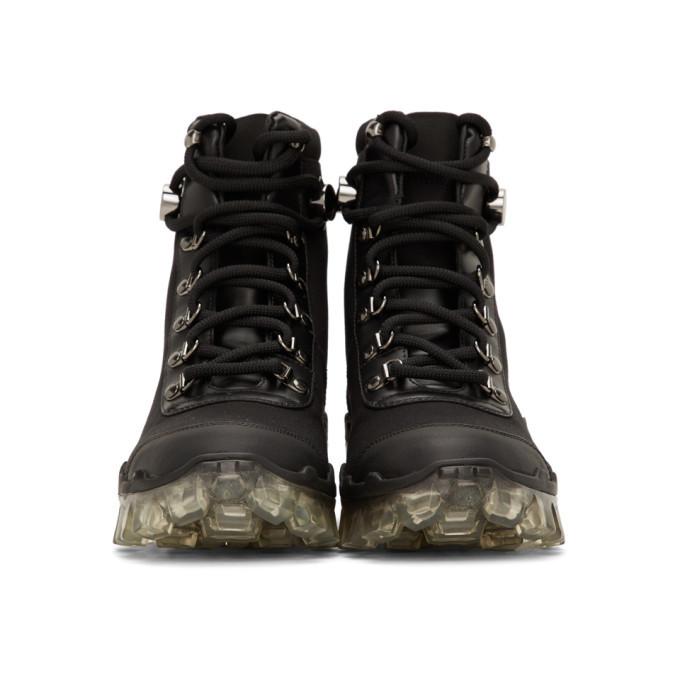 Moncler Black Canvas Helis Boots