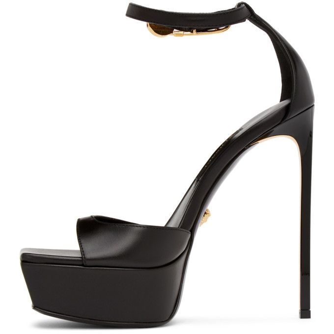 Versace Black Medusa Heeled Sandals