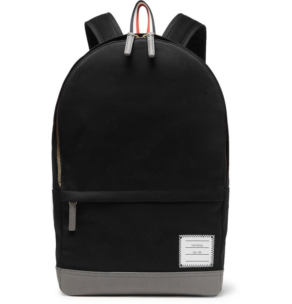 Photo: Thom Browne - Grosgrain-Trimmed Cotton-Twill and Leather Backpack - Navy