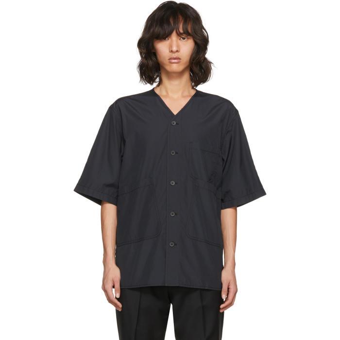 3.1 Phillip Lim Black Overlap Pocket Shirt