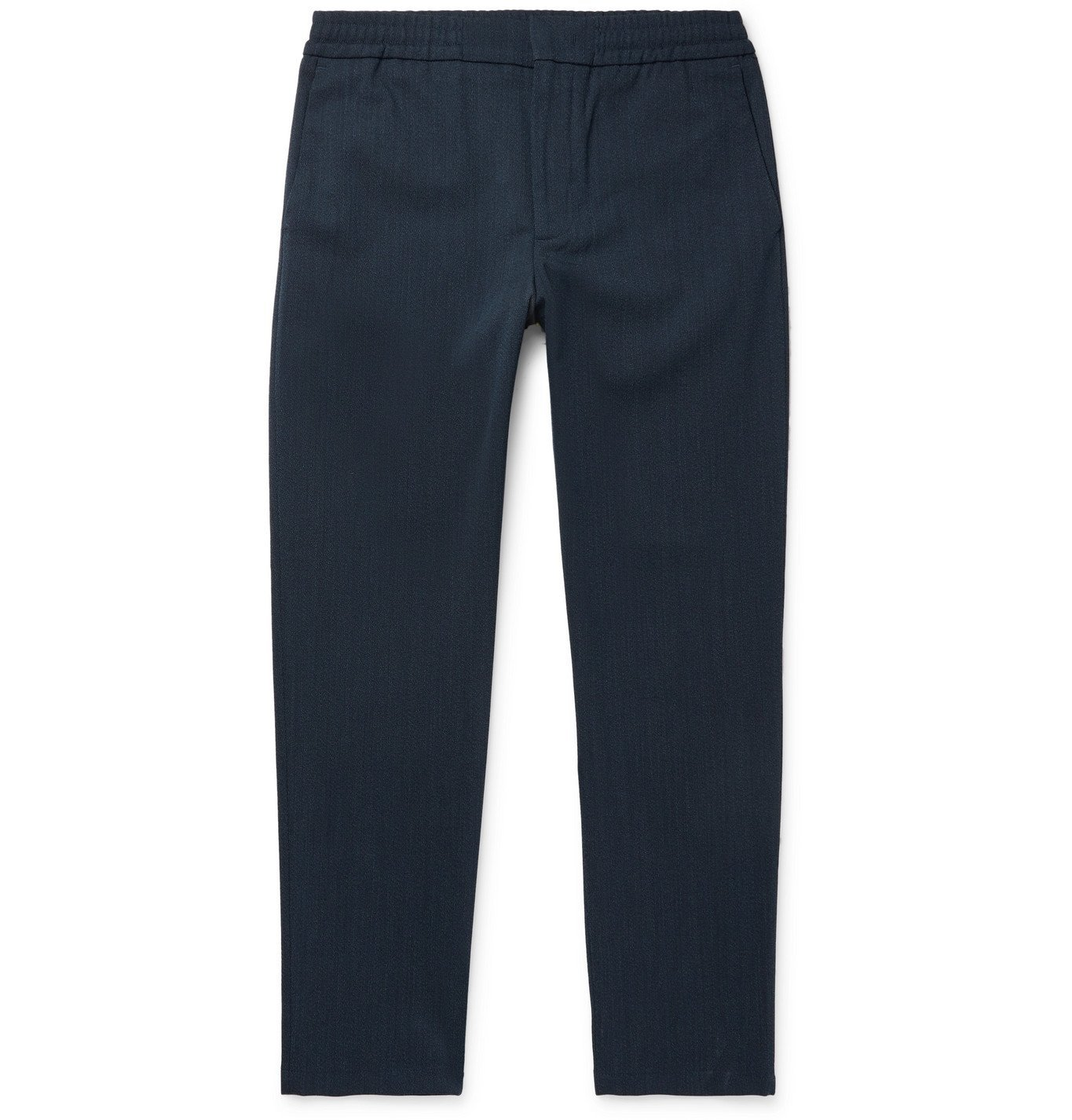 Photo: NN07 - Foss Tapered Flannel Drawstring Trousers - Blue