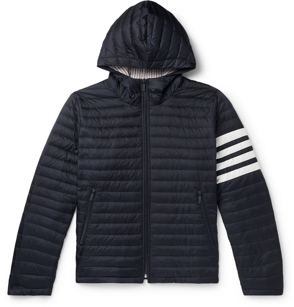 Photo: Thom Browne - Striped Quilted Shell Down Jacket - Navy