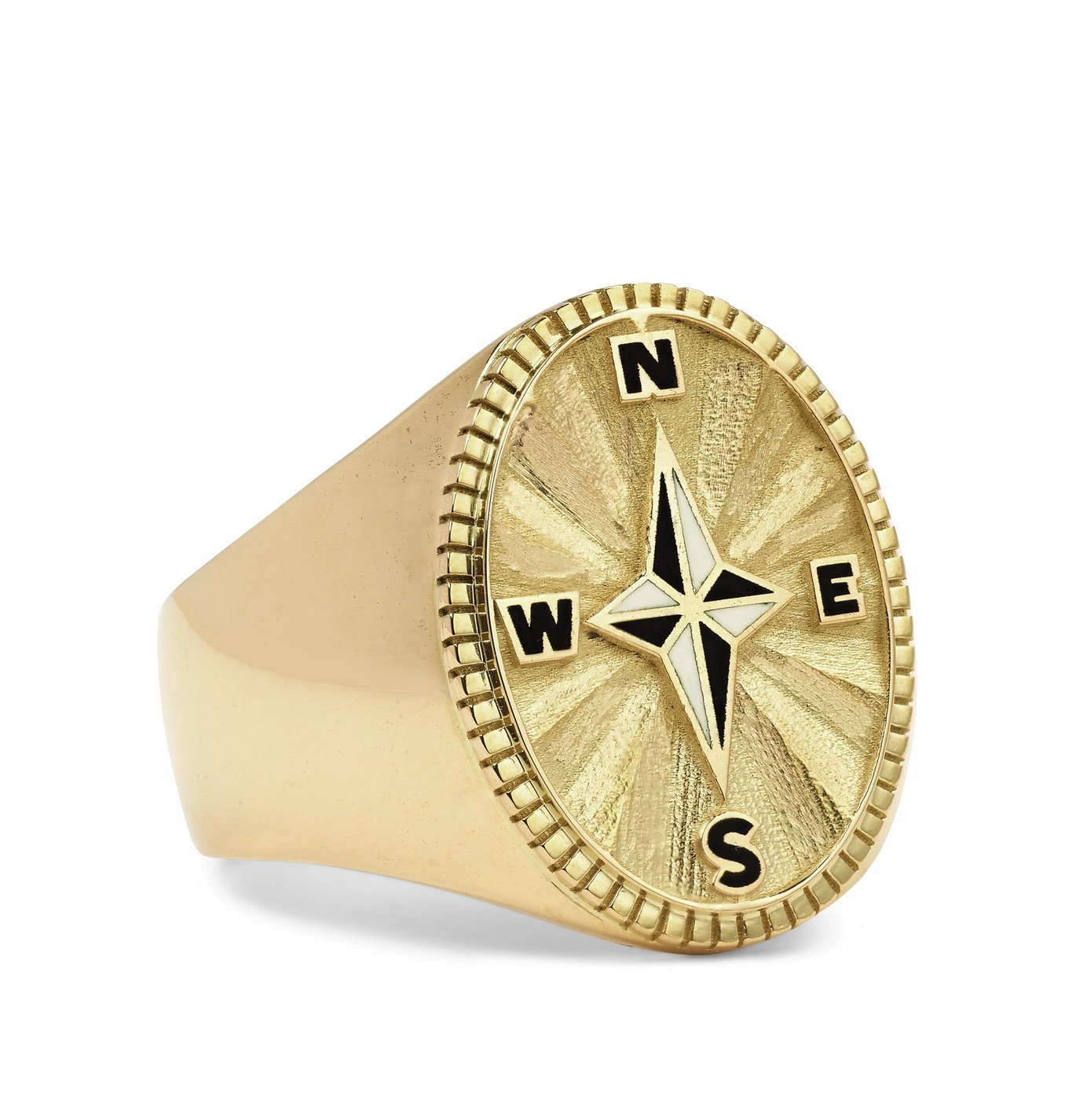 Photo: Foundrae - Course Correction 18-Karat Gold and Enamel Signet Ring - Gold