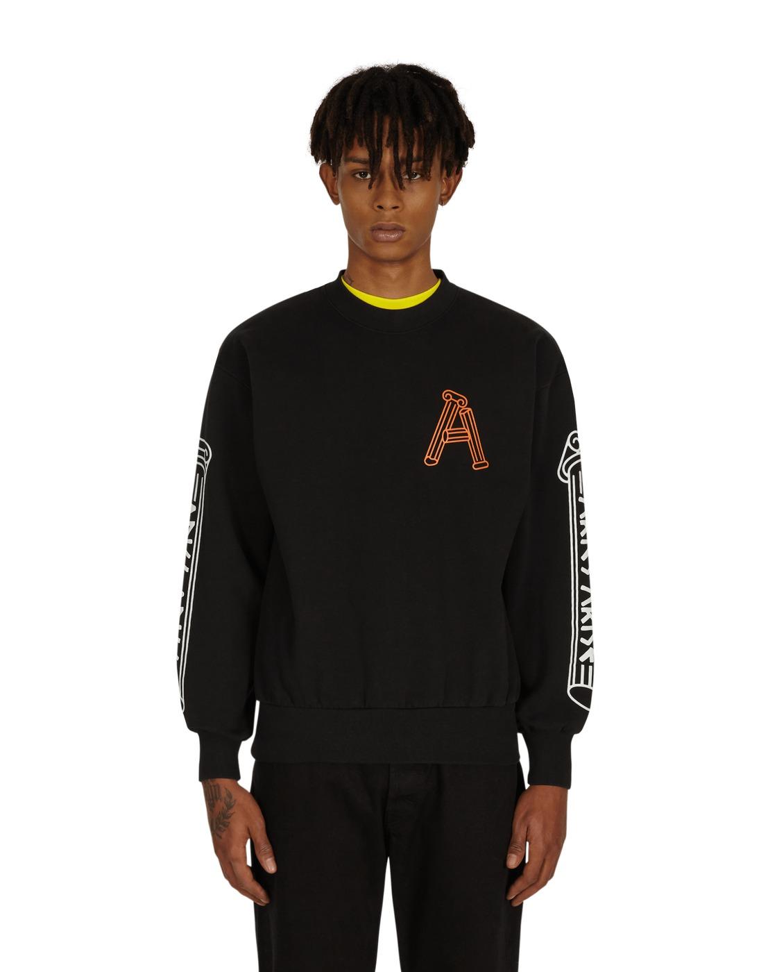 Aries Greek Column Crewneck Sweatshirt Black