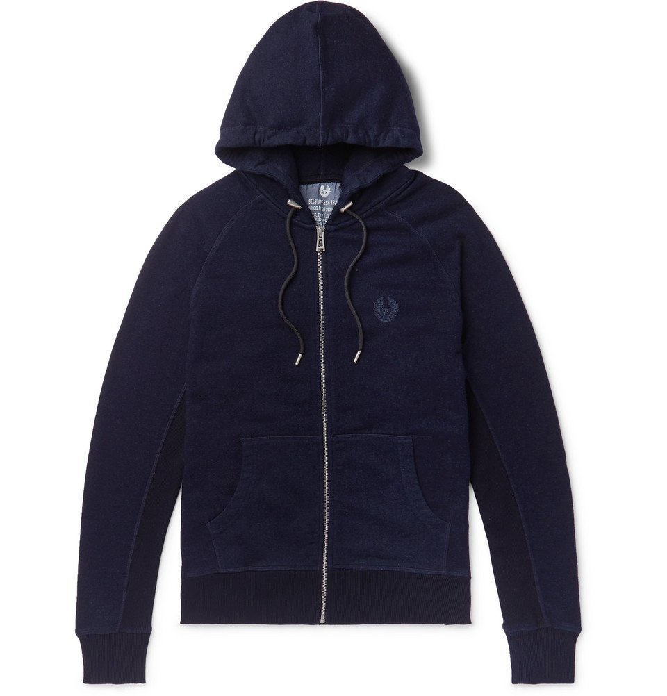 Photo: Belstaff - Churchstow Loopback Cotton-Blend Jersey Zip-Up Hoodie - Navy