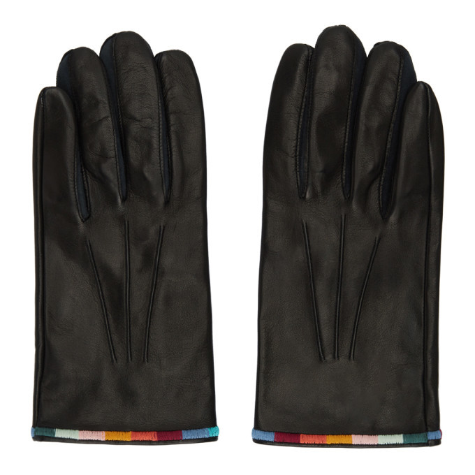 Photo: Paul Smith Black Leather Artist Stripe Gloves