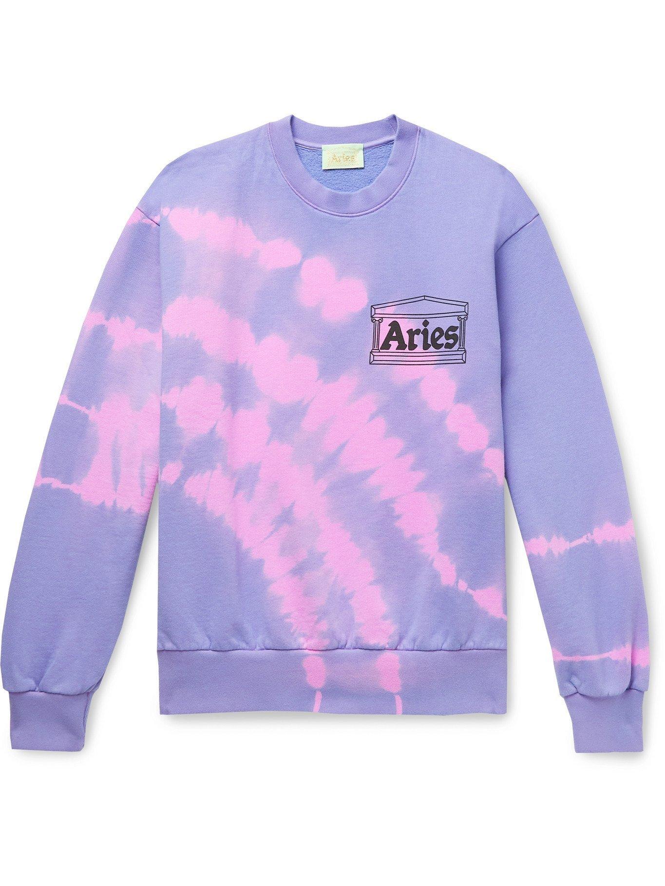 Photo: ARIES - Logo-Print Tie-Dyed Fleece-Back Cotton-Jersey Sweatshirt - Purple - XS