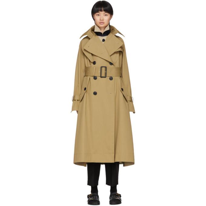 Sacai Beige Layered Trench Coat