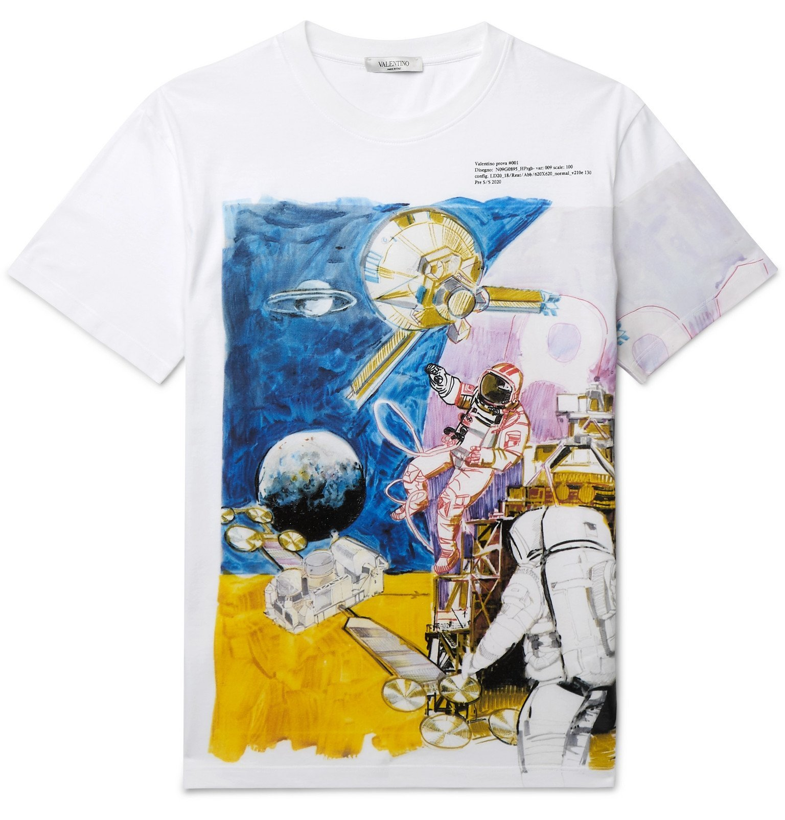 Photo: Valentino - Slim-Fit Printed Cotton-Jersey T-Shirt - White