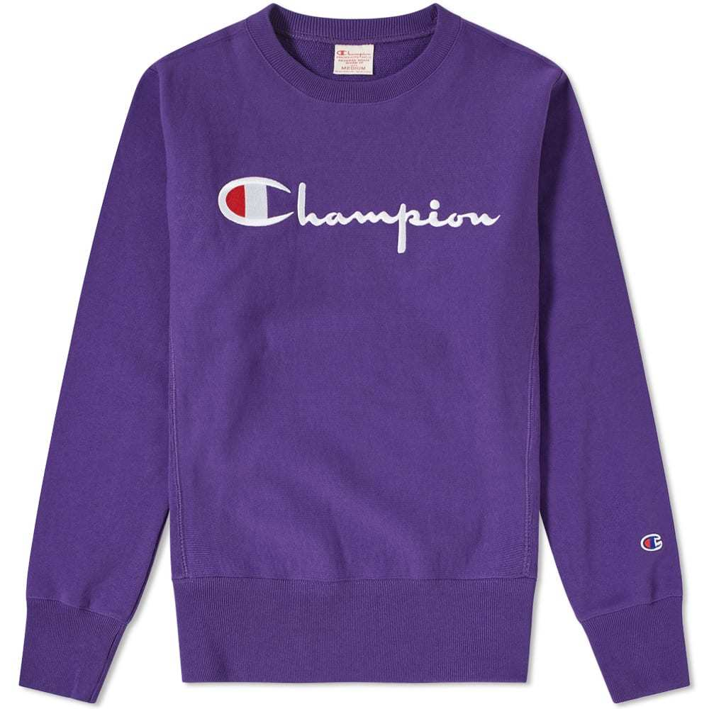 a3fa2bc6 Champion Reverse Weave Script Logo Crew Sweat Purple Champion ...