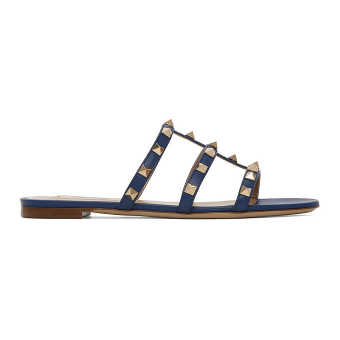 Photo: Valentino Navy Valentino Garavani Rockstud Slip-On Sandals
