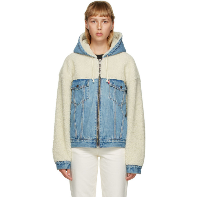 Photo: Levis Off-White and Blue Sherpa Hooded Hybrid Trucker Jacket