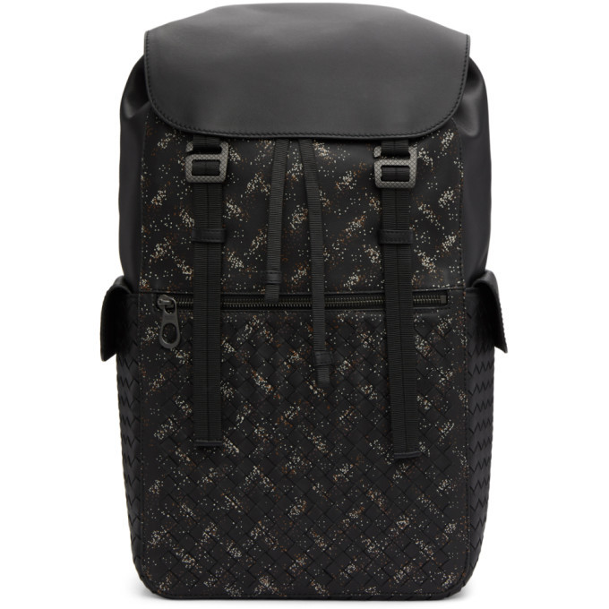 Photo: Bottega Veneta Black Intrecciato Microdots Backpack